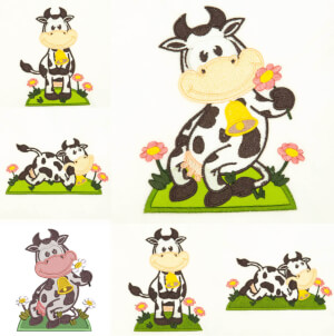 Little cows Embroidery design pack