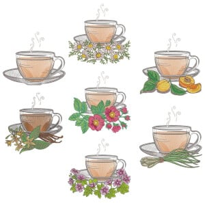 Tea Time Embroidery Design Pack