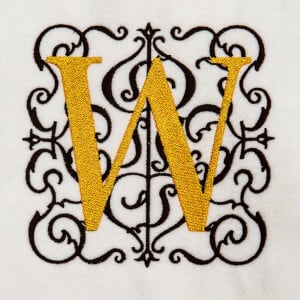 Alphabet Monogram W Embroidery Design
