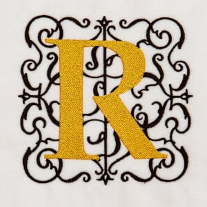 Alphabet Monogram R Embroidery Design