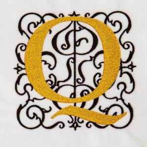 Alphabet Monogram Q Embroidery Design