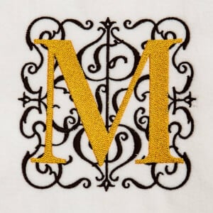 Alphabet Monogram M Embroidery Design