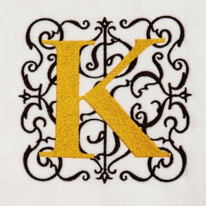 Alphabet Monogram K Embroidery Design