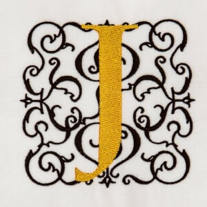 Alphabet Monogram J Embroidery Design