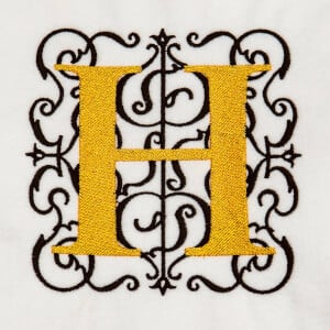 Alphabet Monogram H Embroidery Design