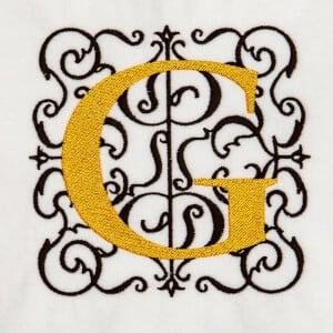 Alphabet Monogram G Embroidery Design