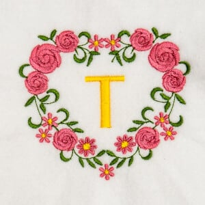 Flower Monogram T Embroidery Design