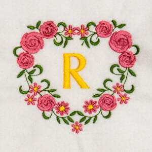 Flower Monogram R Embroidery Design