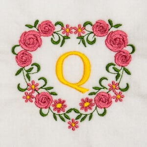 Flower Monogram Q Embroidery Design