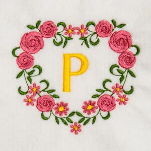 Flower Monogram P Embroidery Design