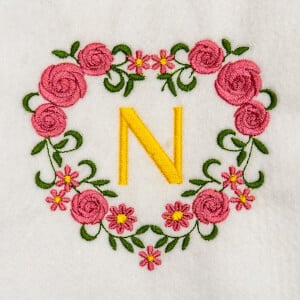 Flower Monogram N Embroidery Design