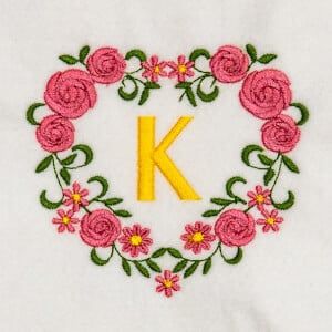 Flower Monogram K Embroidery Design