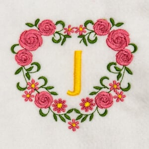 Flower Monogram J Embroidery Design