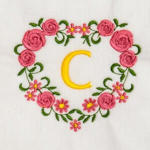 Flower Monogram C Embroidery Design