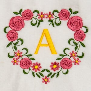 Flower Monogram A Embroidery Design