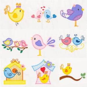 Birds embroidery design pack
