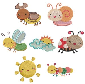 Insects embroidery design pack