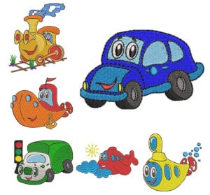 Vehicles embroidery design pack