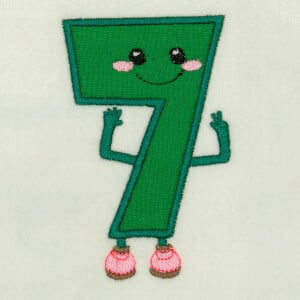 Number 7 Very Happy in Applique Embroidery Design