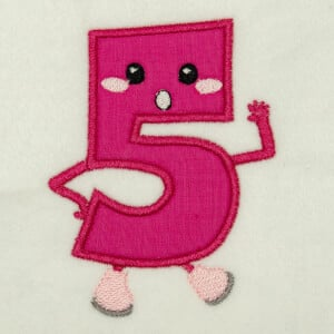 Number 5 Very Happy in Applique Embroidery Design