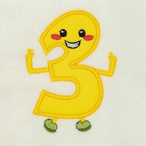 Number 3 Very Happy in Applique Embroidery Design