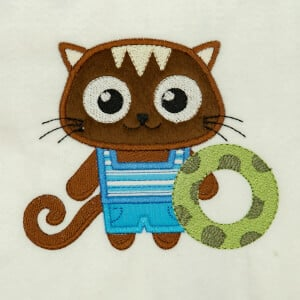 Cat in Applique Embroidery Design