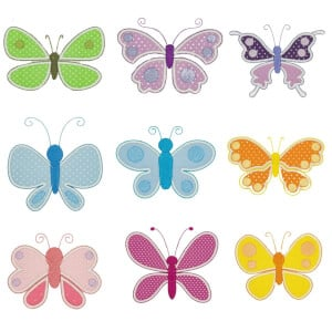 Butterflies in Aplique Embroidery Design Pack