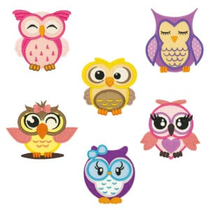 Cute Owls Embroidery Design Pack