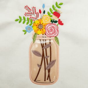 Mason Jar Flower Arrangement (Applique) Embroidery Design