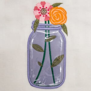 Mason Jar (Applique) Embroidery Design