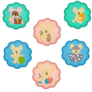 Easter Bunnies Frames Embroidery Design Pack