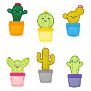 Happy Cactus Embroidery Design Pack