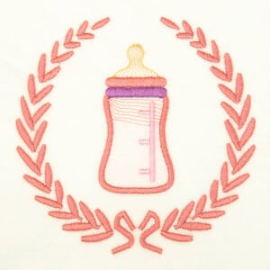 Baby Bottle in Frame (Rippled) Embroidery Design