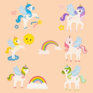 Winged Unicorns Embroidery Design Pack