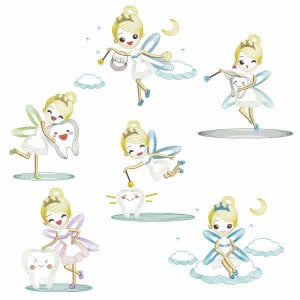 Tooth Fairy in Rippled Embroidery Design Pack