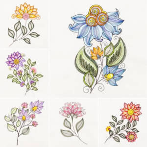 Stylized Rippled Florals Embroidery Design Packz's