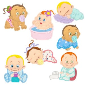 Baby Life in Aplique Embroidery Design Pack