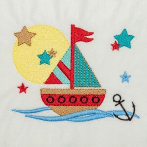 Ship on Sea Embroidery Design