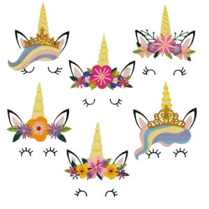 Unicorn Faces Embroidery Design Pack