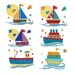Boats on the Sea Embroidery Design Pack