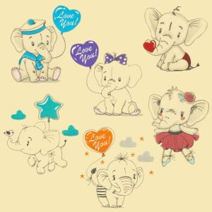 Cute Elephants Embroidery Design Pack