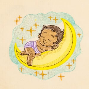 Baby Sleeping on Moon (Applique) Embroidery Design