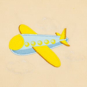 Plane Between Clouds (Applique) Embroidery Design