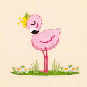 Graceful Flamingo Embroidery Design