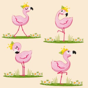 Graceful Flamingos Embroidery Design Pack