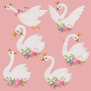 Magnificent Swans in Aplique Embroidery Design Pack