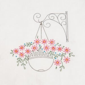 Basket with Flowers Contours Embroidery Design