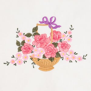 Basket of Fflowers Embroidery Design