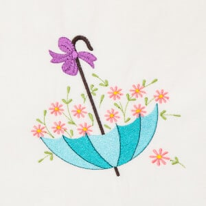 Umbrella of Flowers Embroidery Design