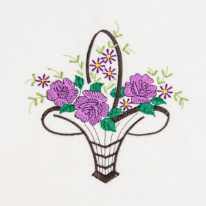 Basket of Flowers Embroidery Design